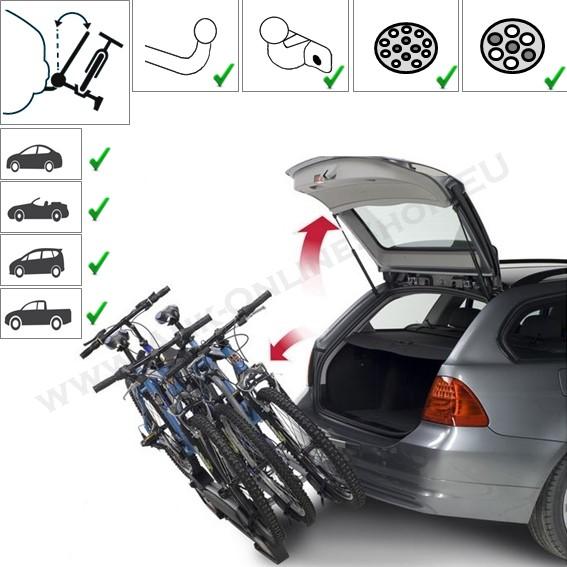 WINNY PLUS von MENABO Fahrradträger für Anhängerkupplung für 3 Räder Heckträger