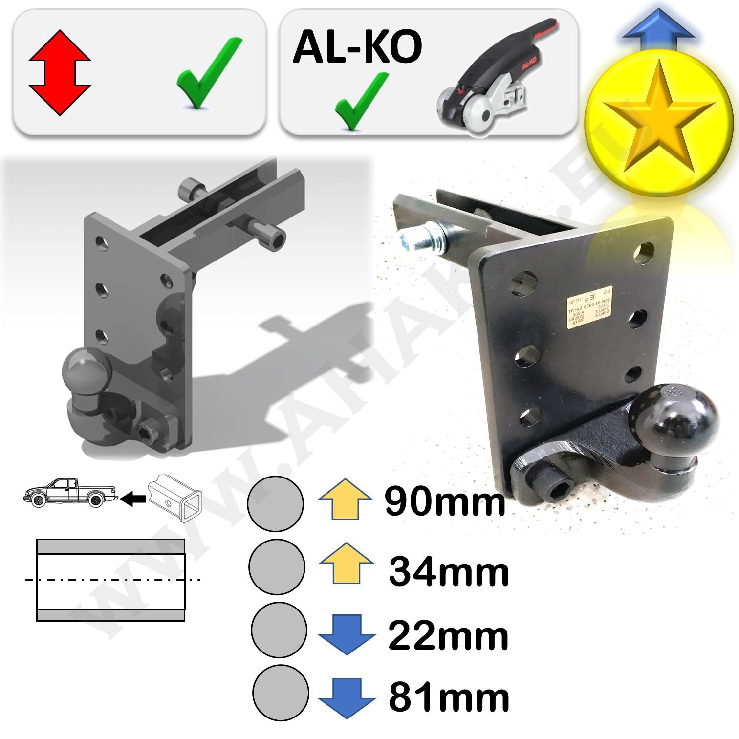 """AHK 2/"""" 50x50mm Höhenverstellbar Anhängebock Adapter Hummer H3 2005-2010"""