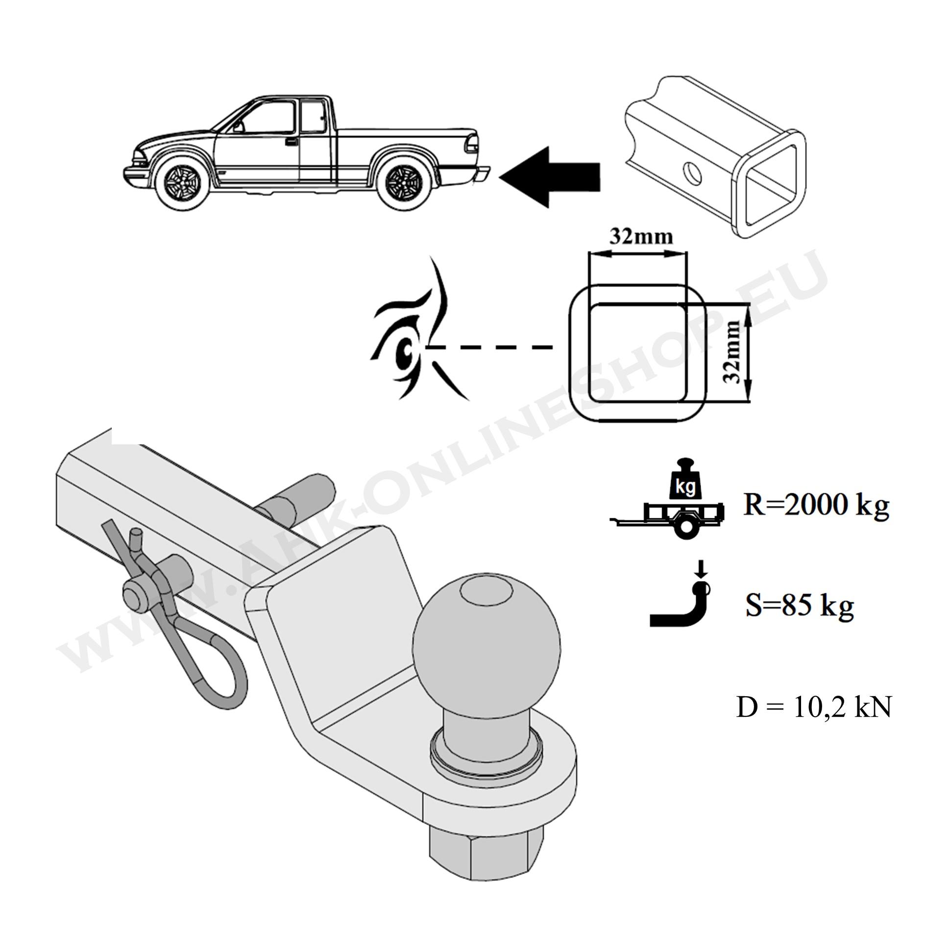 EBA Starre Anhängerkupplung DODGE RAM 3500 01.1993-jetzt Auto Hak NEU ABE inkl