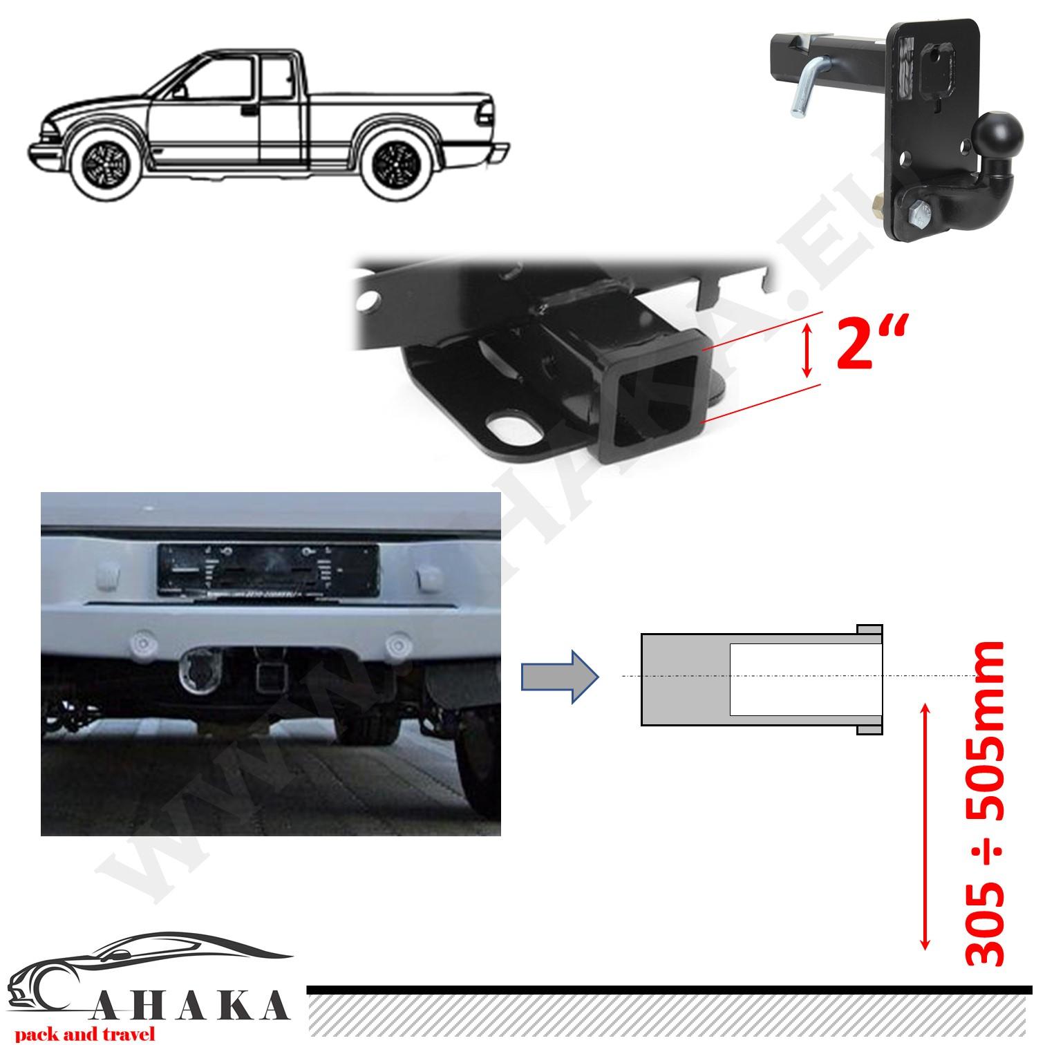 AHK 51x51mm Anhängebock Adapter tiefgezogen Dodge Ram 1500 2010–2018 -115mm