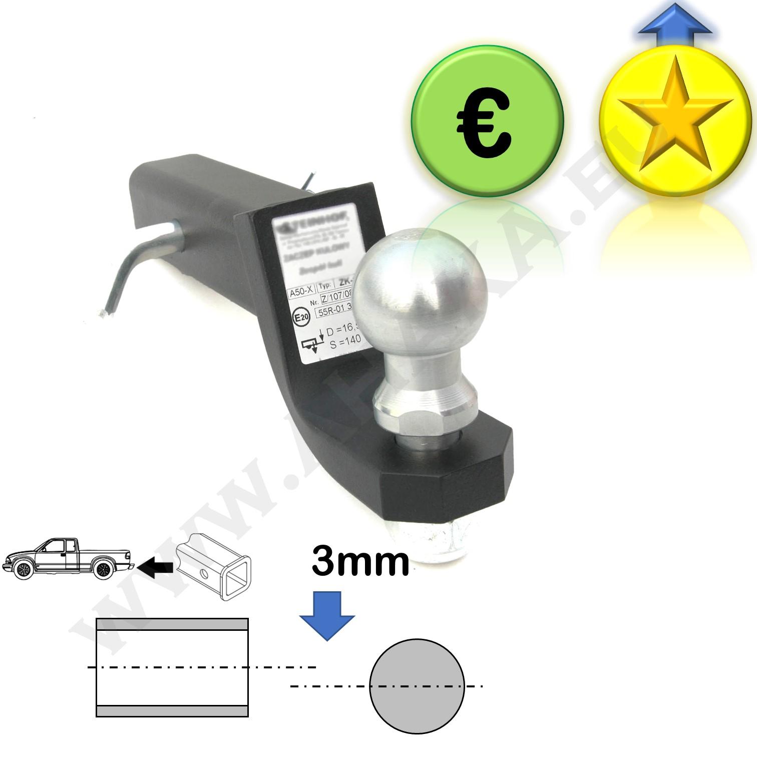 Steinhof Anh/ängerkupplung Adapter f/ür US-Fahrzeuge Gesenkt 50x50mm AHK h/öchste Qualit/ät